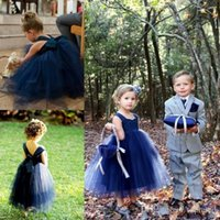 Wholesale Tulle Flower Girl Empire - Navy Blue Aankle Length Princess 2017 Ball Gown Flower Girl Dress Spaghetti Backless Empire Tulle Tiered Skirts with Ribbons Communion Gown