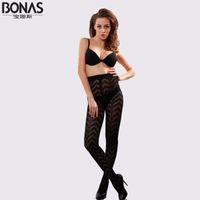 Wholesale Bonas Pantyhose - Wholesale- 2016 Brand BONAS Striped Tights Spring Autumn Pattern Sexy Lingerie Tights Female Pantyhose Compresion Tights For Women