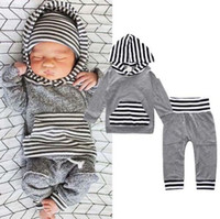 Wholesale Hooded T Shirt Pants - 2pcs Newborn Infant Baby Boy Girls Clothes Hooded T-shirt Tops+Pants Outfits Set