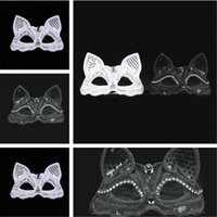 Wholesale evening masks resale online - New Black White costume ball mask Sexy lace mask Animal Fox mask evening party Supplies IA648