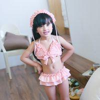 Wholesale Korean Kids Swimming - 2017 Baby Girls Swimwear Lace Butterfly Ruffle Kids Swimsuits Summer Korean Children bikini swimsuits 2pcs Sets Kids spa Swimming C1442