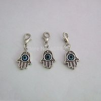 Atacado-20pcs Hamsa Hand Evil Eye Fatima Silver Tone Charm Clip On For Bracelet, Necklace Jewelry Making Findings