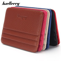Wholesale Korean Dress Fashion Black Color - Hot Sale Baellerry Real Leather New Fashion Men Women Credit Card Holder Case card holder Wallet 6 Color Business Cards Bag ID Holders