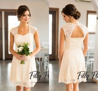 Wholesale Scalloped Lace Neckline Dress - Elegant Ivory Knee Length Short Bridesmaid Dresses 2017 Scalloped Neckline Full Lace Maid Of Honor Gowns For Weddings Sexy Open Back