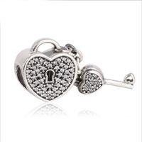 Wholesale bracelets chamilia - 925 sterling silver pave cz european heart key bead Compatible with pandora Most Charm Bracelets Such Chamilia, Troll, Biagi