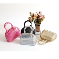 Wholesale Jelly Glitter Purses - Wholesale- 18.5cm Glitter Women Mini Shell Handbag Baby Girls PVC Candy Colors Jelly Shoulder Bag Silicon Beach Messenger Bag bolsa Purse