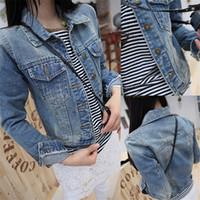Wholesale Short Rivet Jeans - Wholesale- New 2016 Ladies Denim Jackets Outerwear Jeans Coat Classical Jackets Women Fashion Jeans Coats Rivets Female Jackets
