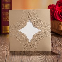Wholesale Wedding Card Free Fold - 2017 New Design Custom Personalized Gold Wishmade Wedding Invitation Cards With Envelopes Seals Free Shipping Wedding Supplies CPA832