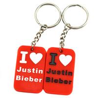 Wholesale I Love Justin Bieber - Wholesale Shipping 50PCS Lot I Love Justin Bieber Fashion Silicon Dog Tag Keychain, Perfect Gift for Music Fans