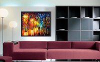 Wholesale Modern Romantic Paintings - Romantic street lamp pure hand painted oil modern home simple decoration style canvas murals high quality color palette painting JL055
