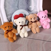 Wholesale Comic Ties - 11cm Kids Plush pendant diy bow tie Bear pendant Lovers Stuffed Animals figure birthday present Plush dolls gift toys 4 Color