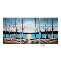 Wholesale sun painting modern art - Woods River Sun Winter Hand Painted Abstract Scenery Oil Painting Modern Wall Art Home Decoration 3 Pieces