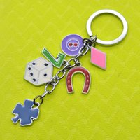 Wholesale Dice Keyring - Dia.30MM Metal Keyring Rhodium Plated Split Key Rings Findings Round Keychain & Good luck clover dice 7 Key Rings Fit Key Chain NR0306