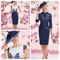 Wholesale Capped Sleeved Dresses - Ronald Joyce Mother Of The Bride Dresses Knee Length Satin WITH LACE APPLIQUE DETAIL AND A ¾ LENGTH SLEEVED LACE JACKET Mother's Dresses