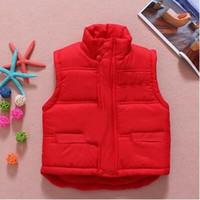 Wholesale Mandarin Collar Waistcoat - Retail children's winter Outerwear Coats baby boys vest kids Letter waistcoat fashion children coat 3 colors you can choose