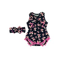 Wholesale Wholesale Show Girl Clothing - Summer Baby Clothes Pink Bow Pom Baby Romper Set Newborn Taking Home Outfit Summer Girls Sunsuit Baby Show Gift 2pcs Set