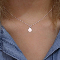 Wholesale Cat Memorial Jewelry - 2017 Pet Jewelry Necklace Silver Dog, cat Paw Necklace, Pet Memorial Gold Paw Print necklace