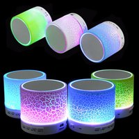 Wholesale Led Light Computer Speakers - hotsale Mini portable S10A9 crackle texture Bluetooth Speaker with LED light can insert U disc, mobile phone player with retail box