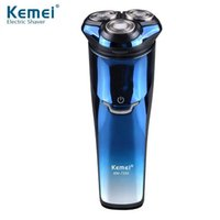 Wholesale Triple Razor Wholesale - Kemei Electric Shaver Men Full Body Washable 3D Triple Floating Blade Heads Rechargeable Razor Professional Shaving KM-AHB