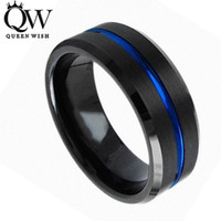 Wholesale Tungsten Carbide Couple - Queenwish Tungsten Engagement Rings for Men 8mm Tungsten Carbide Ring Black Brushed Blue Stript Matching Couple Wedding Band Unique Jewelry
