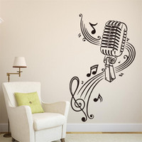 Wholesale Large Vinyl Music Wall Stickers - 57x37cm Microphone with Music Notes Vinyl Wall Stickers Removable Art Mural for Home Decoration Kids' Bedroom
