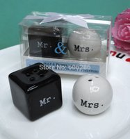 Wholesale Wholesale Souvenirs For Wedding - Wholesale-Wholesale Top Quality 150pairs lot wedding souvenirs Mr. & Mrs.Ceramic Salt & Pepper Shakers for Wedding Door Gifts for Guest