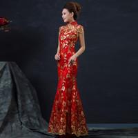 vestido curto das mulheres chinesas venda por atacado-HF819 Vermelho Chinês Vestido de Noiva Feminino Longo de Manga Curta Cheongsam Ouro Magro Chinês Tradicional Vestido Mulheres Qipao para Festa de Casamento 8