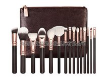 Rose Golden Ensemble complet Brosses de maquillage 1 Styles avec paquet en cuir FaceEye Brushes Daily Cosmetics Brushes