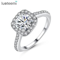 Wholesale Simple Single Rings - Classic Simple Design Ring AAA Zircon Square CZ White Gold Color Anelli Wedding and Single Stone Women Engagement ring LUOTEEMI