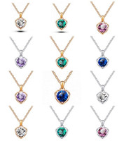 Wholesale Love Language Crystal - High quality Austrian crystal necklace heart language pendant female alloy ornaments WFN095 (with chain) mix order 20 pieces a lot