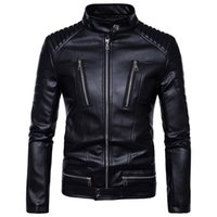Wholesale leather jacket racing motorcycles for sale - Group buy Plus Size Winter Men Faux Jackets Motorcycle Racing Cool Jackets With Multi Zippers Design PU Leather Coats Bomber Jacket J170702