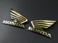 Wholesale Motorcycle Decals Stickers Honda - Motorcycle 3D ABS Gold Fuel Tank Emblem Decal Sticker Custom For Honda Wing Pair