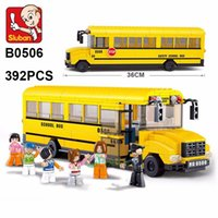 Wholesale Sluban Bus - Sluban Building Blocks 382Pcs large School Bus 3D Puzzle Model Enlighten Construction Brick For Children minifigures action figure lepin