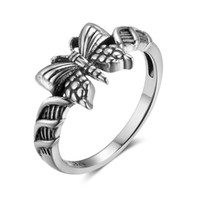 Wholesale Butterfly Womens Ring - New Womens 925 Sterling Silver Rings Female Butterfly Shape Promise Engagement Rings Vintage Cute Style Jewelry
