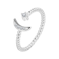 Wholesale adjustable star ring resale online - 5pcs Sterling Silver White CZ Twisted Roped Crescent Moon Star Adjustable Rings for Women Charming Christmas Gift