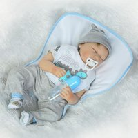 Wholesale Boys Baby Doll Clothing - Asleep 22 Inch Silicone Reborn Dolls Gentle Touch Vinyl Baby Alive Doll Baby Toy with Cartoon Clothes 55cm bebe Reborn Boy Gifts