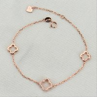 Wholesale rose gold clover bracelet - Hollow out four-leaf clover charms bracelets S925 silver plated European American fashion women Zircon micro - edged Jewelry white gold rose