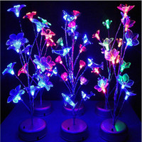 Wholesale Colored Bedside Lamps - Wholesale- Novelty Colorful LED Tree Branch Night Light Dolphin Flower Dragonfly Bedside Table Lamp Home Decorative Gadget Lighting Lampada