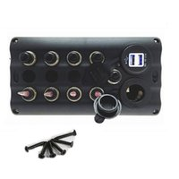Wholesale Waterproof Marine Switch Panel - 12v-24v 4 Gang LED Waterproof Marine Boat Toggle Switch Panel with 5 Breakers and power socket usb port charger
