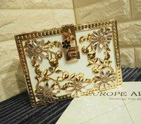 Wholesale Diamonds Box Packaging - Factory wholesale handbags luxury high-grade diamond carved fan Europe women Dinner Bag retro gold hollow carved acrylic diamond box package