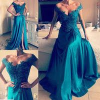 Wholesale Turquoise Beaded Gowns - Turquoise Green Off Shoulder Evening Dresses Appliques Beaded Satin Split Side Backless Long Evening Gowns Formal Prom Dresses