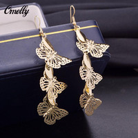 Classic Stylish Butterfly 18K GP Dangle Ear Earring Hollow Out Party Wedding Jewelry para Lay Girls Preço barato