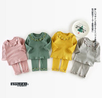 Wholesale Girls Wholesale Ruffle Pant Sets - Ins Baby kids 2 Pieces Set Kids girl long sleeve ruffles colalr T shirt + pant kids clothing knitted sets free ship 4 colors 1-2-3-4T