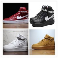 Wholesale Force Lights - 2017 New forces Classical All White black high cut men & women Sports sneakers Running Shoes Forceing one skate Shoes size 36-46