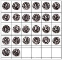 conjunto de alfabetos encantos al por mayor-Nuevo 26 unids / set Alfabeto Inglés de A a Z Jengibre 18 mm Botones a presión Chunk Charms Joyería DIY a estrenar