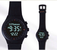 Wholesale Russian Automatic Watches - Wholesale-Russian hotselling full black color Azan watch Muslim Azan watch automatic price now free shipping