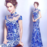 Wholesale Cheongsam Back - 2017 New Elegant Mermaid White Blue Evening Dresses High Neck Short Sleeves Floor Length cheongsam QiPao Formal Party Gowns Cheap CPS462
