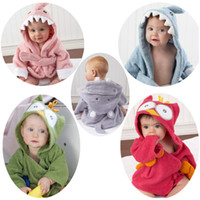 Wholesale Nightgown Kids - New 15 styles cute animal bathrobe Flannel Kids shark fox mouse owl model Robes cartoon Nightgown Children Towels Hooded bathrobes C1710