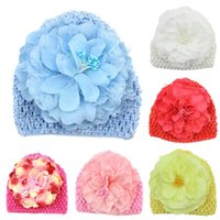 Wholesale Hand Crochet Baby Flower - Hand Crochet Knit Cap Kids Girls Winter Warm Baby Toddler Beanie Hat Flower