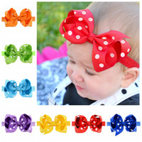 Wholesale Girls 4inch Bows Headband - Baby Headbands 4Inch Bow Polka Dot Baby Girls Grosgrain Dovetail Ribbon Bowknot Headbands Children Hair Accessories 20 Colors KHA23